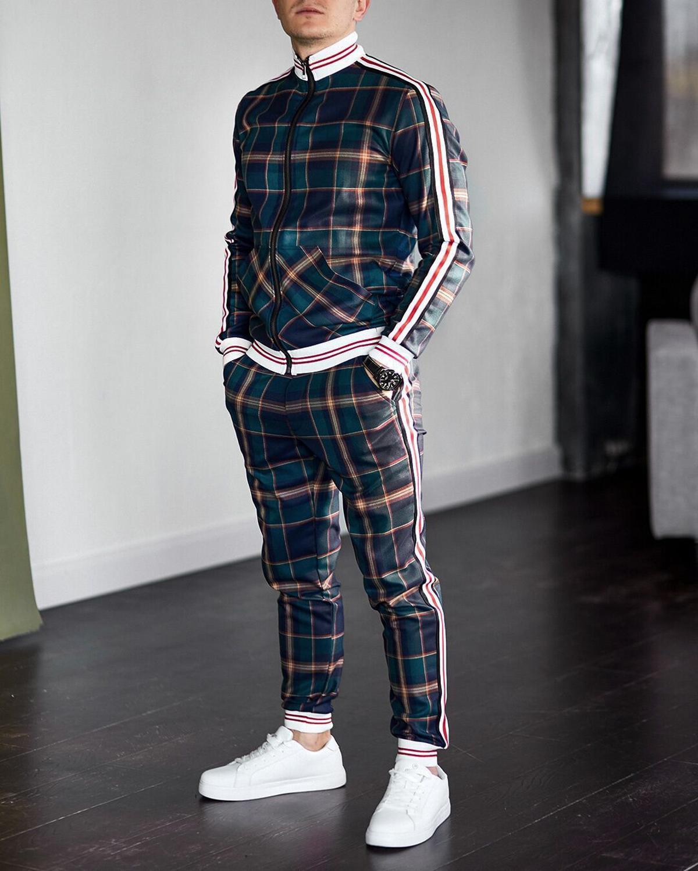 جديد رجل سليم رياضية ملونة منقوشة جاكيت زيبرا عادية السراويل قطعتين مجموعة الخريف الذكور البلوز ملابس الرجال الملابس