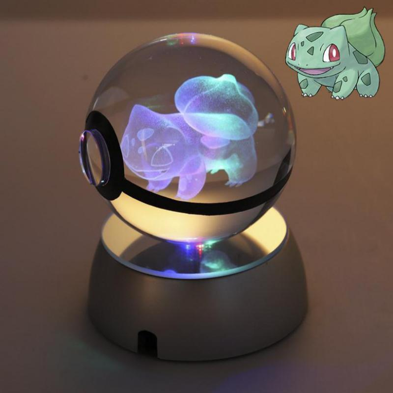 Pokemon cristal transparente 3d lámpara diámetro 5cm botón célula bola de cristal elegantes luces nocturnas juguete de Pokémon para regalos decorativos