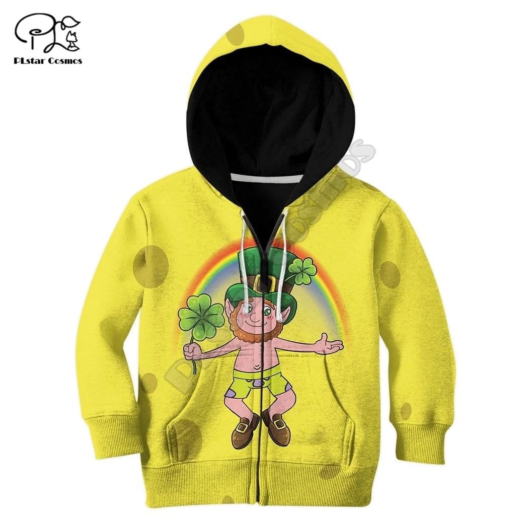 Happy St Patrick 3d Hoodies Children zipper coat Long Sleeve Pullover Sweatshirt Tracksuit Hooded/pants/family