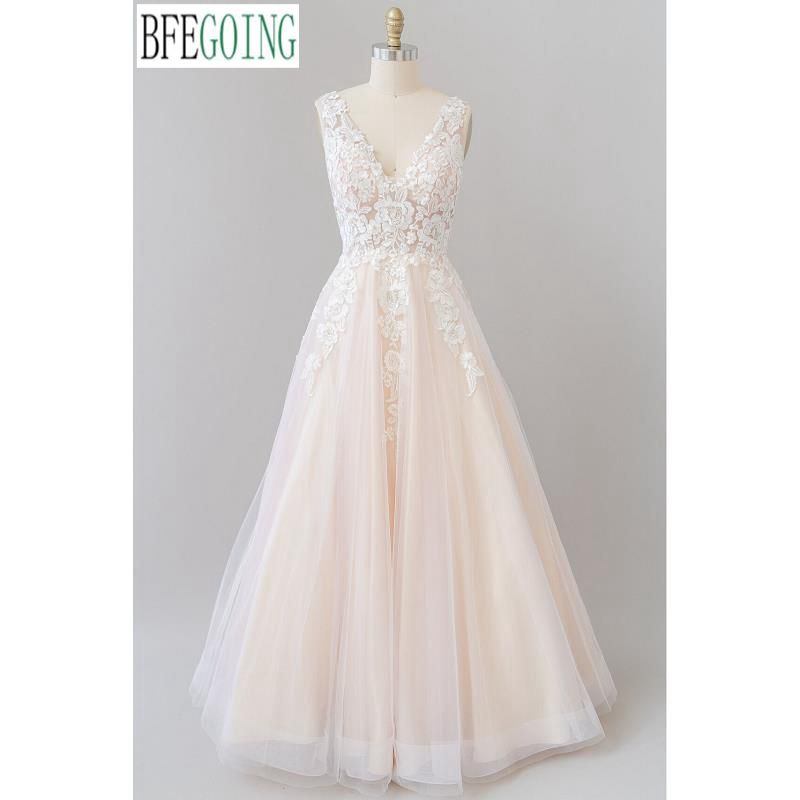Promo Champagne Tulle Lace V-Neck Sleeveless Floor-Length A-Line Wedding Dresses Custom Made Bridal Gowns