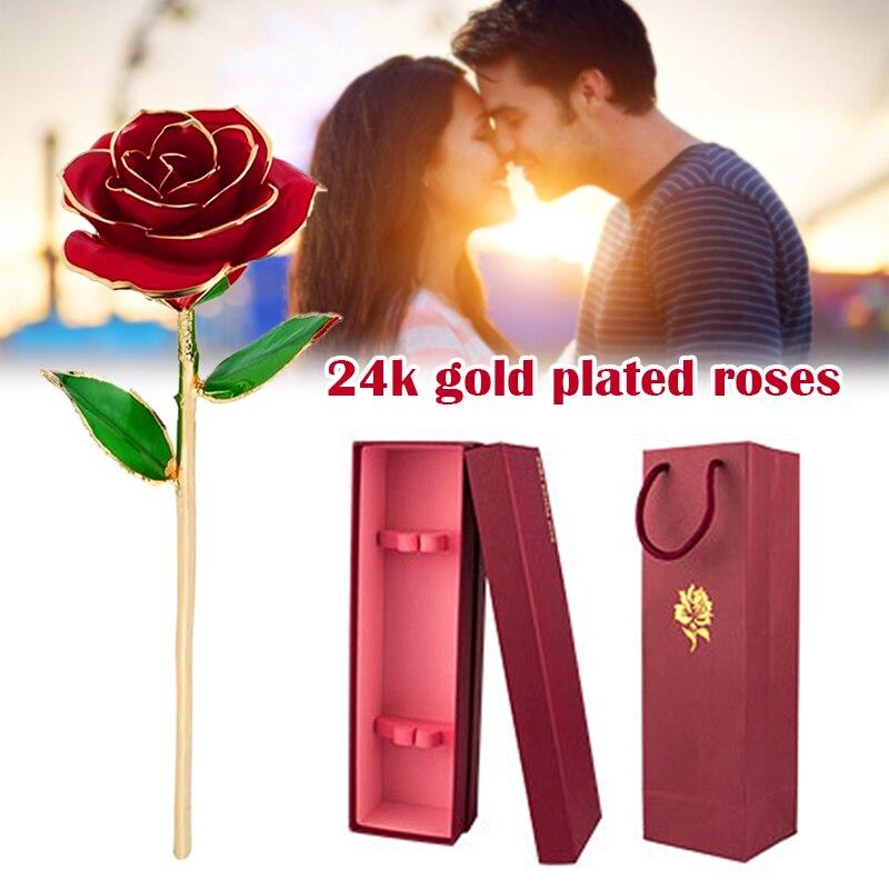 24k banhado a ouro rosa romântica eterna rosa flor eterna com suporte melhor presente para o dia dos namorados dia das mães casamento