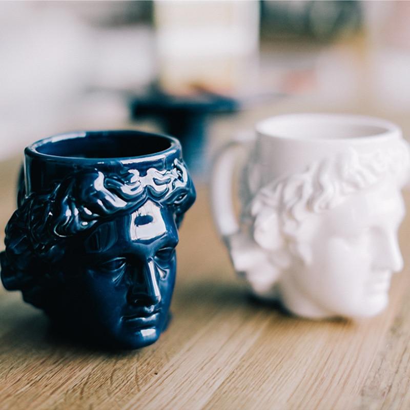 Creative Ceramic Milk Cup Coffee Cup Spain Ancient Greek Apollo David Head Cup Mug Roman Sculpture Cup David Water Cup