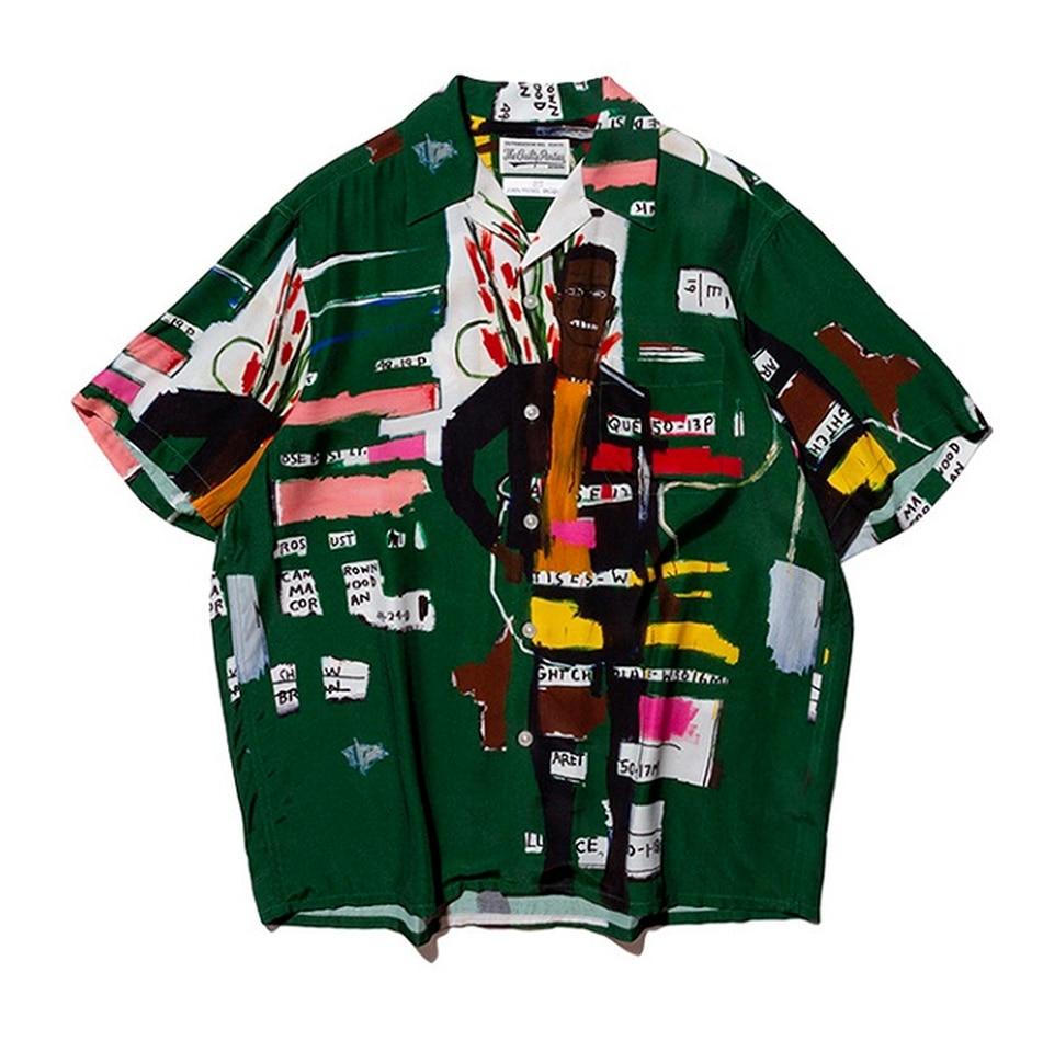 Модная зеленая рубашка с рисунком граффити, мужская рубашка с рисунком Марии, Гавайская Повседневная рубашка, мужская рубашка с пуговицами,...
