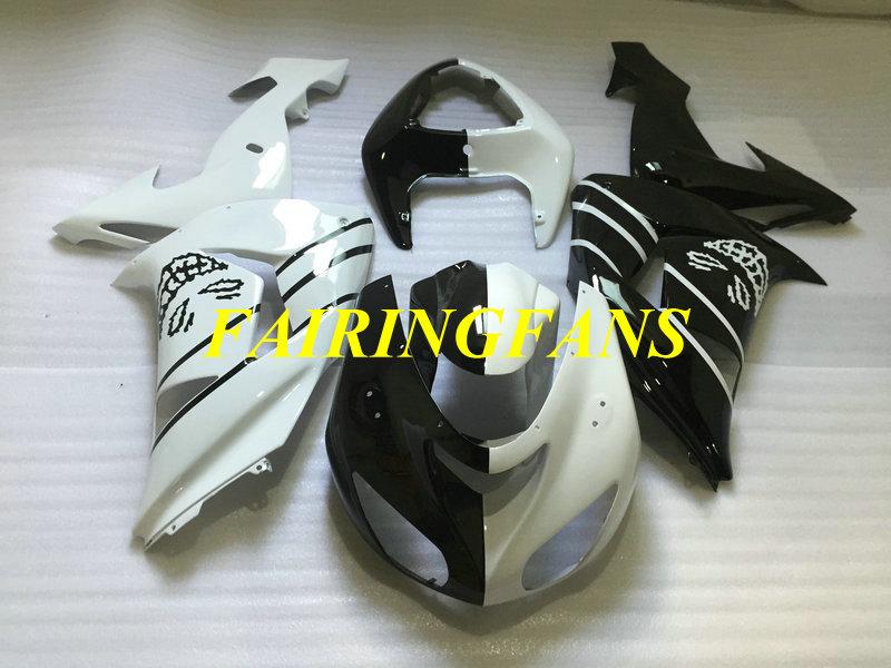 Motorcycle Fairing Body kit for KAWASAKI Ninja ZX10R 06 07 ZX 10R 2006 2007 ABS White black Fairings bodywork+gifts KP36