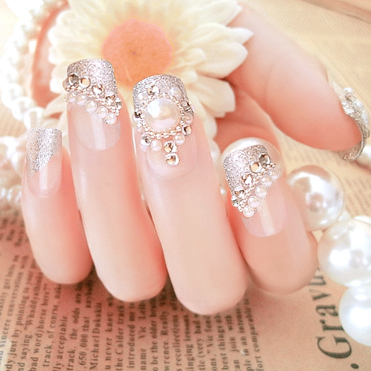 Bride French Style Floret Pattern 24 sheet/set Fake False Nail Tips Diamond Beauty Glue Pearl Design Manicure Nail Stickers C20