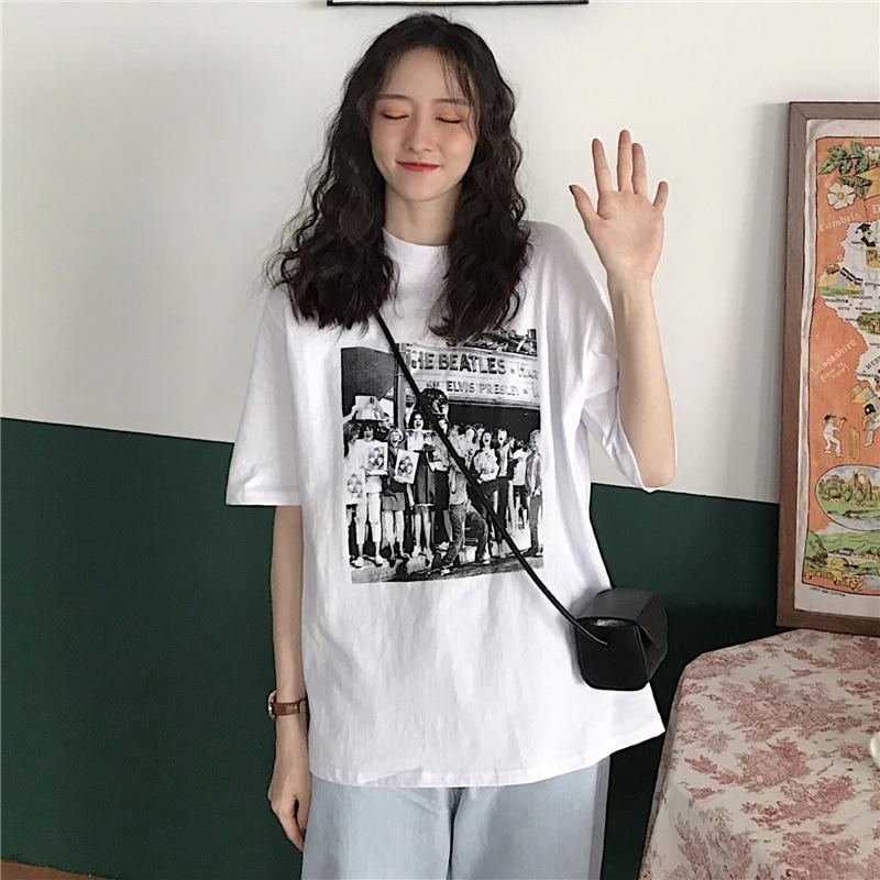 Camiseta blanca de manga corta para mujer, ropa interior holgada de media...