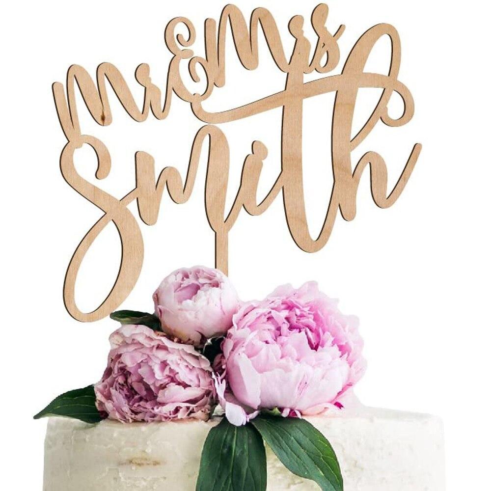 Rústico personalizado de madera Mr & Mrs torta de boda Topper nombres personalizados torta de boda Topper personalizado nombre decoración de la boda