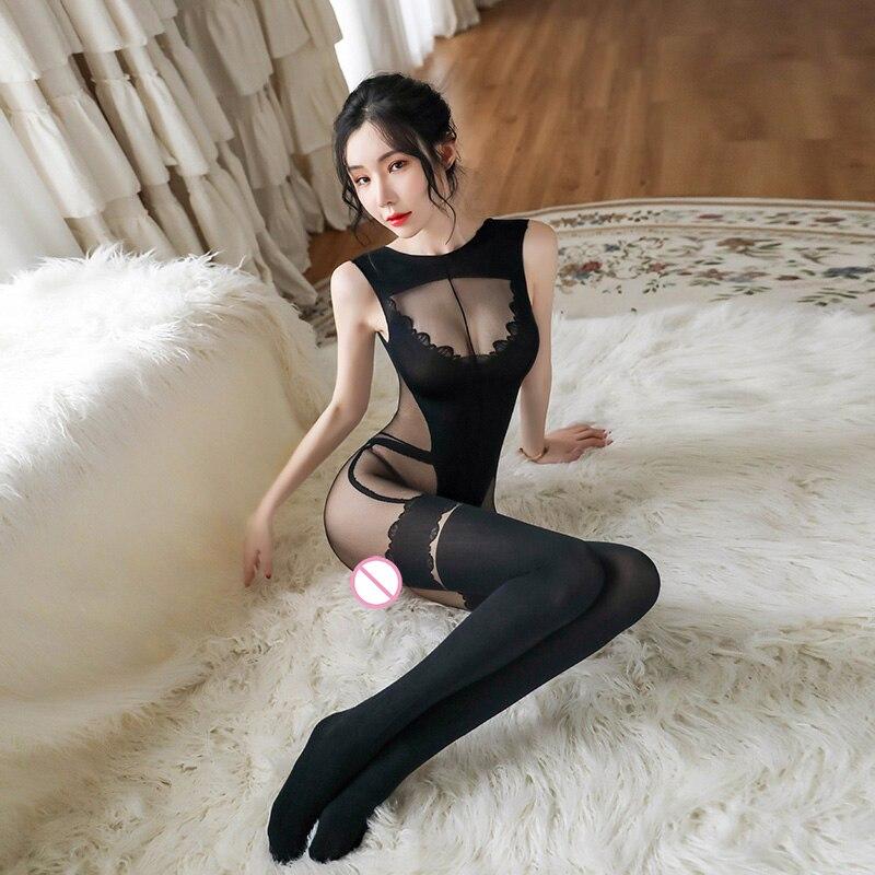 Сексуальное женское белье, эротический Шелковый обтягивающий боди, сексуальные колготки для женщин с открытой промежностью размера плюс, н...
