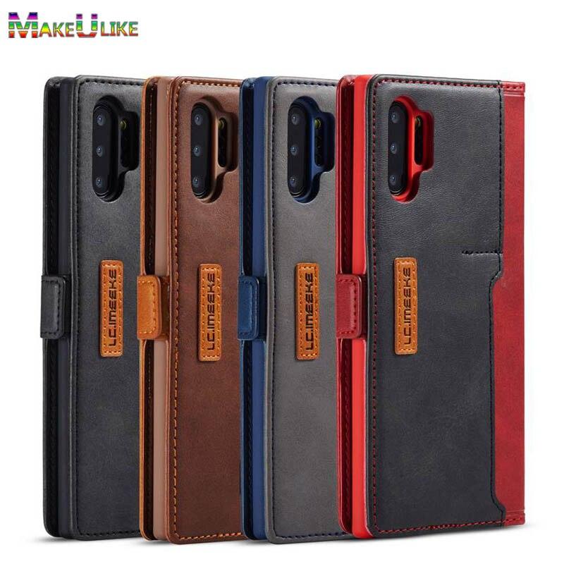 Livro caso da aleta para samsung galaxy note 10 plus 9 10 mais caso leaher titular do cartão caso do telefone para samsung s8 s9 s10 plus s10e capa