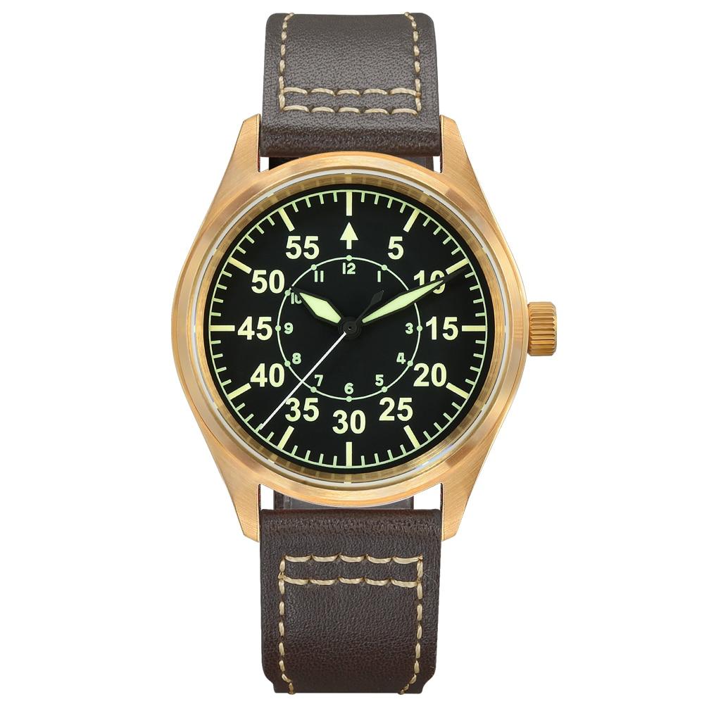 ساعة يد رجالية بولت من سان مارتن لون برونزي ساعات بولت طلب نوع B مضيئة 200 متر حزام جلد مضاد للمياه ميكانيكية ساعات معصم