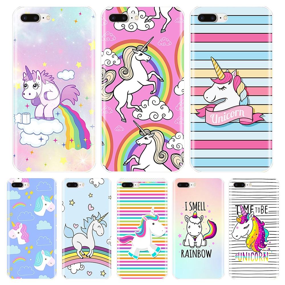 Funda de teléfono para iPhone 6 S 6 S 7 8 11 Pro X XR XS Max, funda de silicona con bonito unicornio arcoíris, funda blanda Apple iPhone 8 7 6 S 6 S Plus