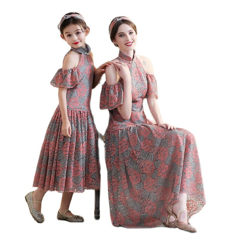 Parent-Child Matching Outfit Dress Mother-Daughter Matching Outfit Dress Western Floral off-Shoulder New Autumn Model Costume
