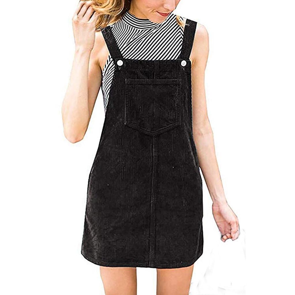 Vestido de alças 2019top quente feminino veludo em linha reta suspender mini bib geral pinafore casual bolso vestido feminino robe femme