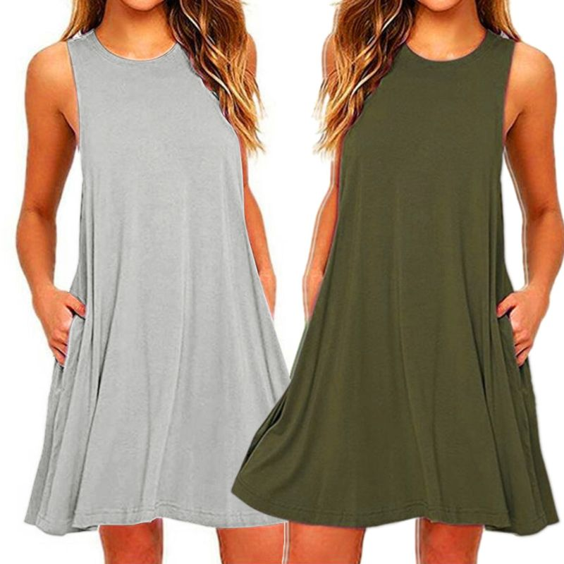 2020 Women's Summer Casual Swing T-Shirt Dresses Beach Cover up with Pockets Plus Size Loose T-shirt