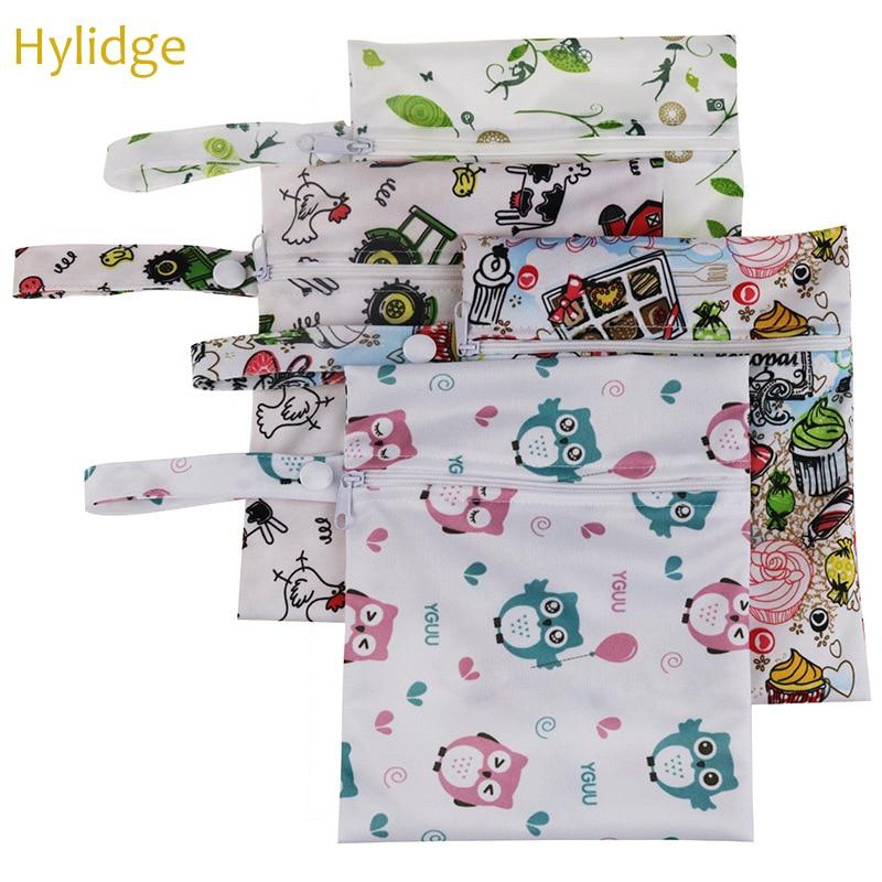 Hylidge, bolsa de pañales de bolsillo impermeable, bolsas de bebé para mamá, bolsa de pañales impresa, bolso húmedo seco de viaje, pequeño organizador de pañales de bebé 15*20CM