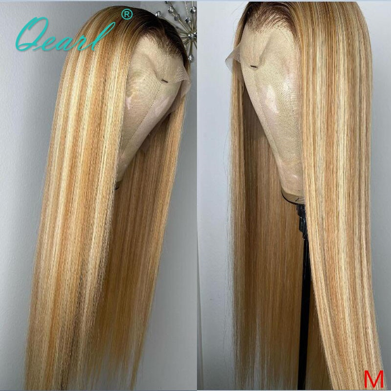 Women Human Hair Wigs 13x6 Straight Lace Front Wig Honey Blonde Blend Color White Frontal Wigs Remy Hair Preplucked 150% Qearl