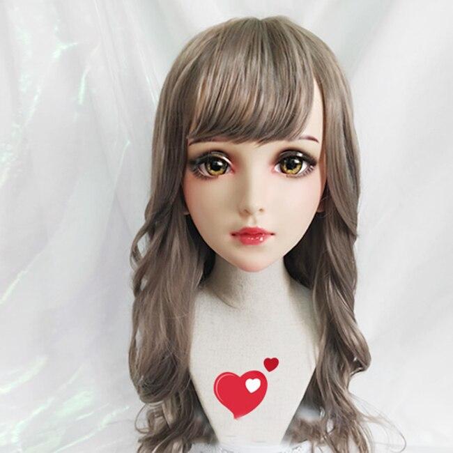 (Fei) женский сладкий девушка смолы половина головы кигуруми BJD глаза кроссдресс косплей японского аниме ролевая маска Лолиты с глазами и парик
