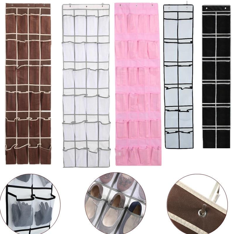 12/24 pocket Large Mesh Cloth Box Storage Hanging Bag Wall-mounted Sundries Organizer Holder Room Shoes Slippers Storage Bag