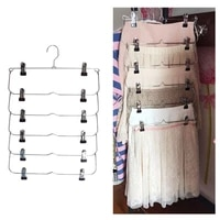 1pc multilayer clothes hangers with 12 clips clothing storage rack metal folding pants holder wardrobe organizer home supplies