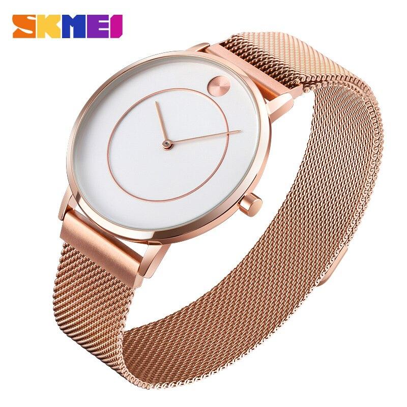 Relojes de cuarzo de lujo de marca superior de moda para hombre, reloj deportivo informal de malla fina de acero resistente al agua, reloj Masculino SKMEI