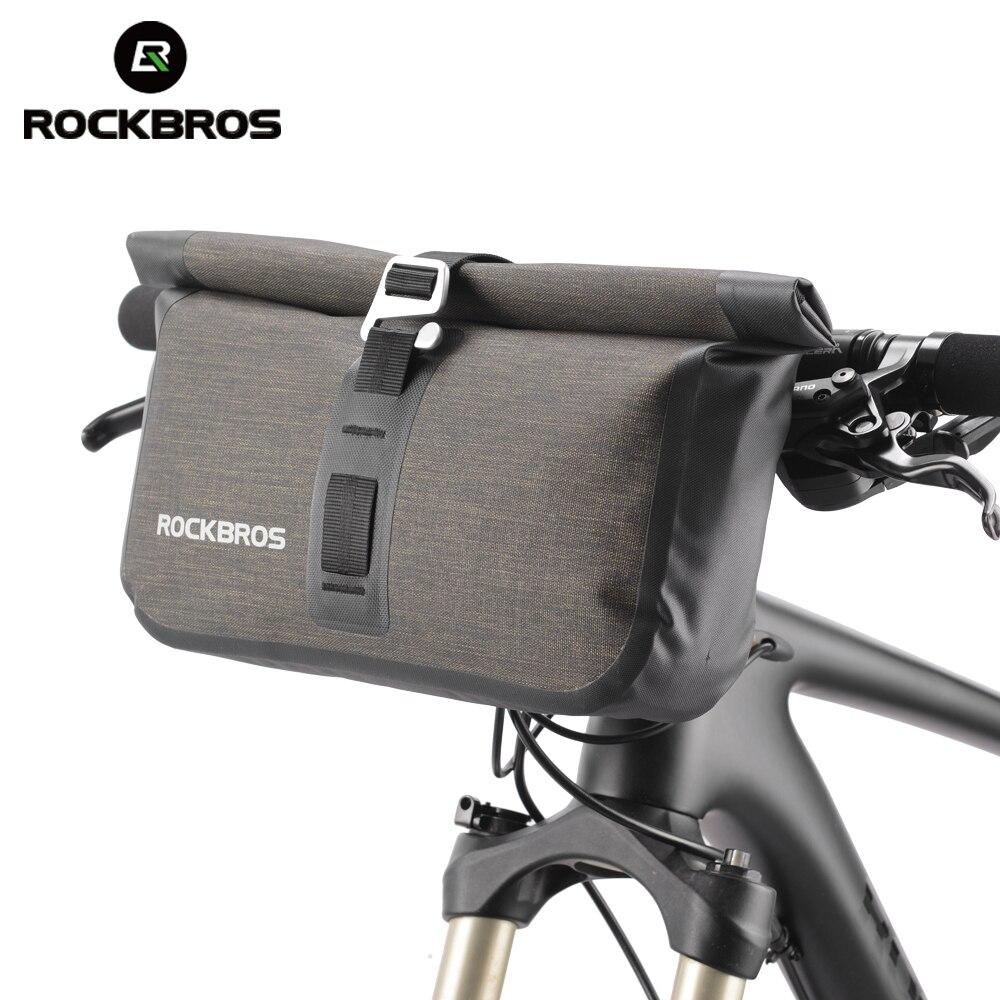 Bolso de bicicleta ROCKBROS 5-6L, impermeable, tubo reflectante delantero, bolso de bicicleta MTB, bolso de manillar de capacidad grande, marco frontal, alerón de maletero