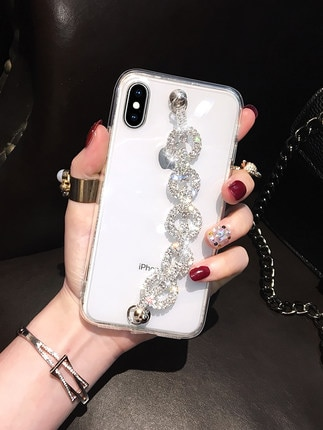 Luxo Bling Glitter Rhinestone Caso Para Xiaomi Redmi 8 7 6 4X 4A 5A 6A Note8 7 4 5 6Pro 4X 5A Cadeia Diamante Macio TPU Tampa Traseira