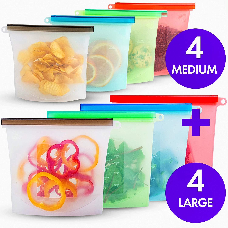 Saco de armazenamento de alimentos de silicone reusável 1000ml 1500ml hermético selo alimentos sacos ziplock de silicone recipiente de armazenamento congelador sacos frescos