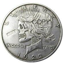 Squelette zombie crâne de dollar   Deux visages américains, tête à tête 1922/1922, paix crâne de dollar, pièces de monnaie sculptées à la main de haute qualité