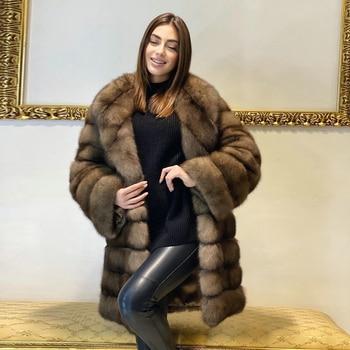 Winter Fashion Fox Fur Coats Woman Long Length High Quality Genuine Fox Fur Coat Outwear Lapel Collar Thick Warm Fur Overcoats
