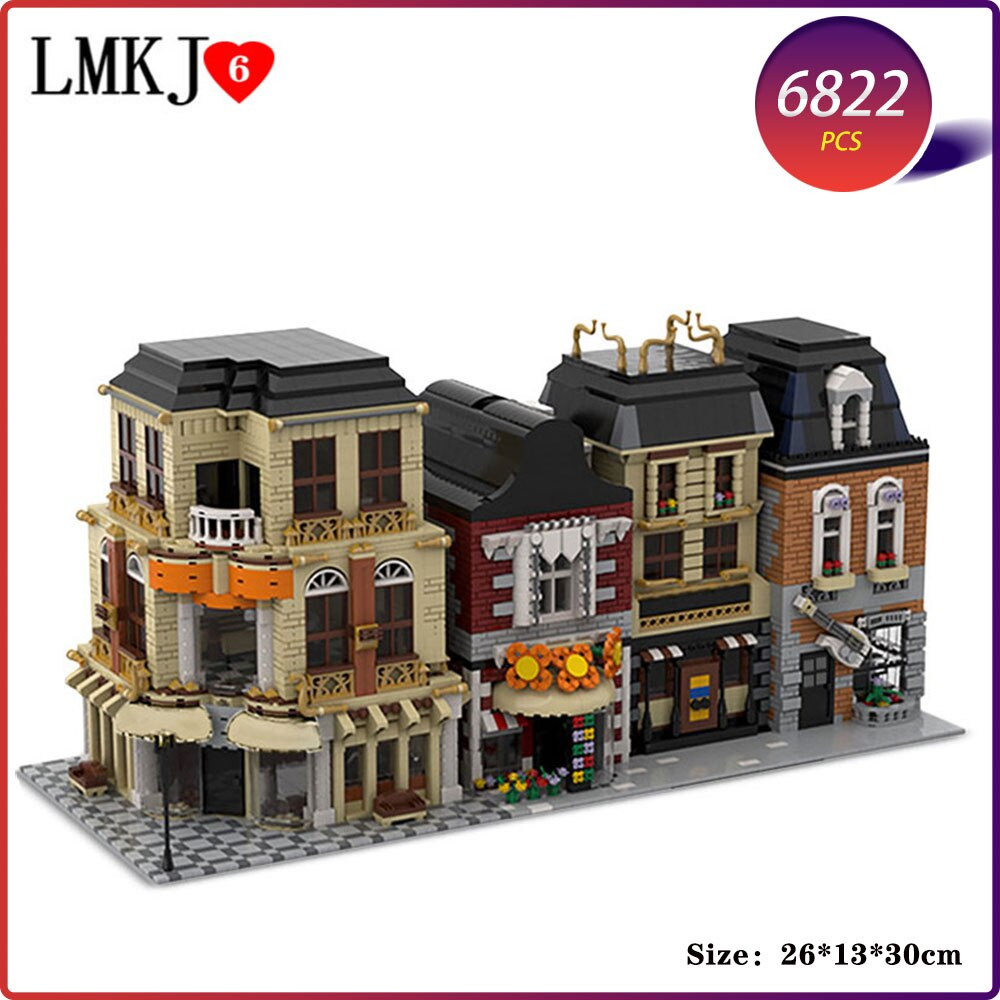military city the way building blocks obstacle block model moc compatible city street view ww2 scenes diy christmas gift toys Shop Restaurant Houses Model DIY Building Blocks City Street View Collection Architecture Moc Bricks Kids Toys Children Gifts