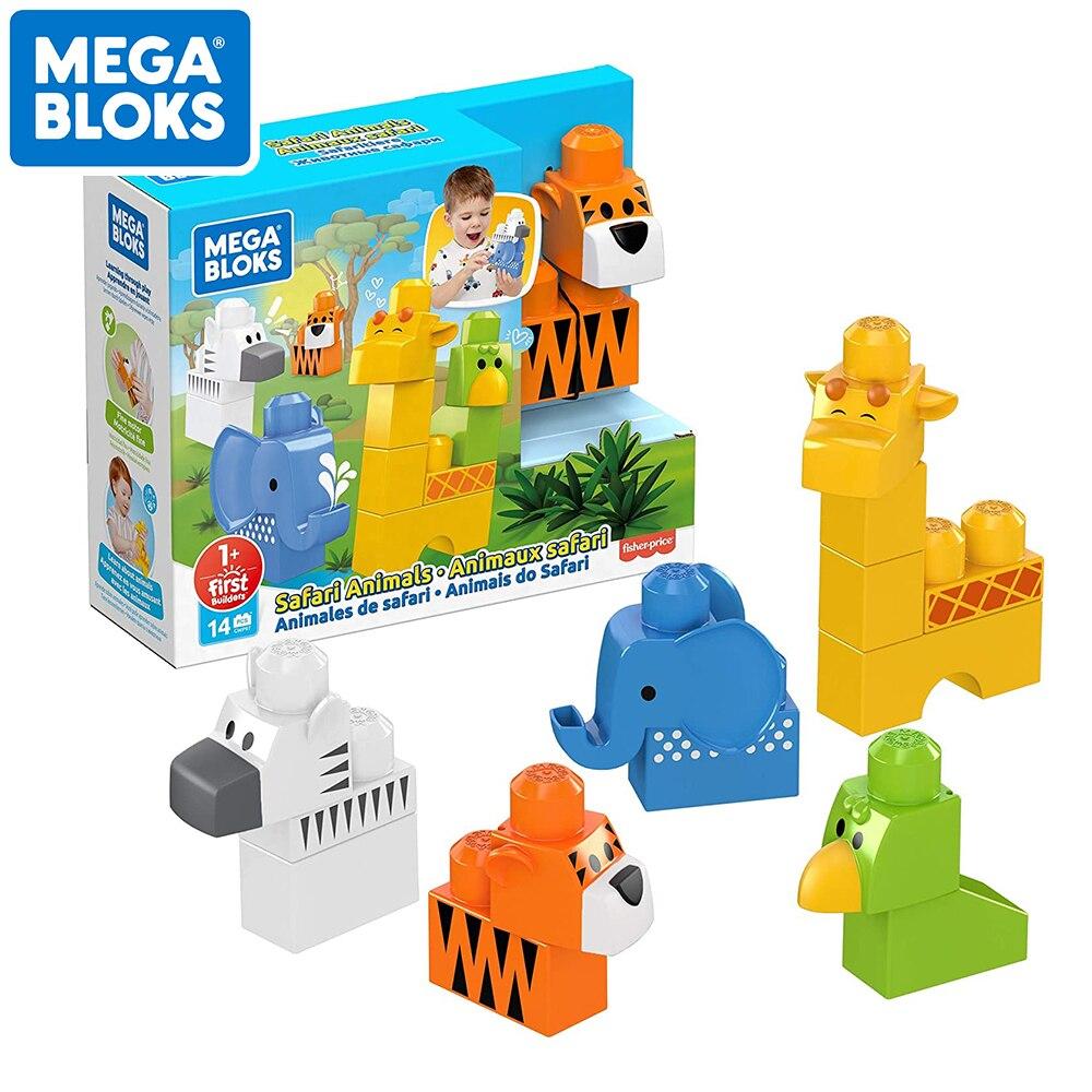 MEGA BLOKS Safari Animals Big Size Building Blocks First Builders Series Learing and Education Kid Toys DIY Plastic Blocks DWP97
