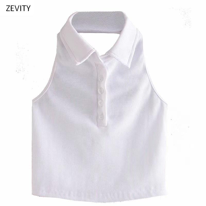 Zevity, nueva moda para mujer, blusa blanca con rosca y cuello vuelto, blusa sin mangas elegante para mujer, Espalda descubierta, camisetas LS6777