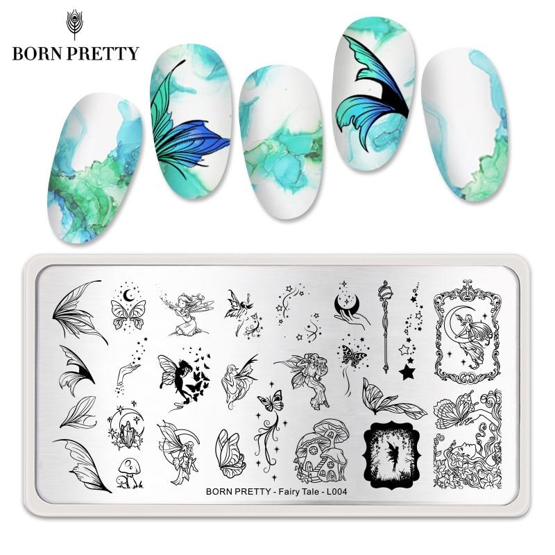 Пластины для ногтей BORN PRETTY с изображением бабочек цветов Кружева геометрических изображений шаблон для дизайна ногтей из нержавеющей стали Цветочная сказочная тема