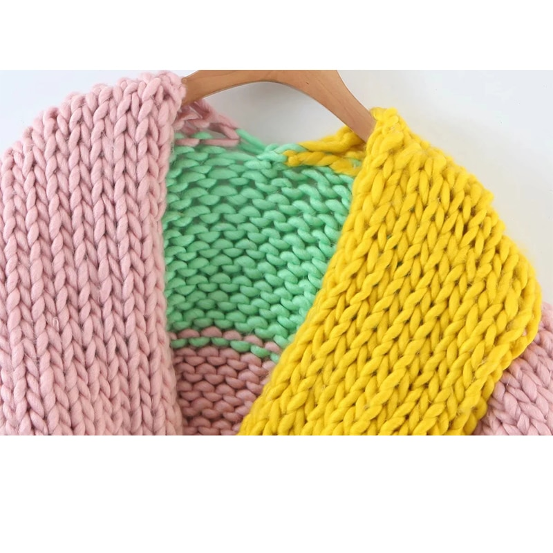 UNIQYB ZA Autumn And Winter Cardigan Casual Korean Fashion Loose Colorblock Cropped Sweater Female V Neck Long Sleeve Cardigan enlarge