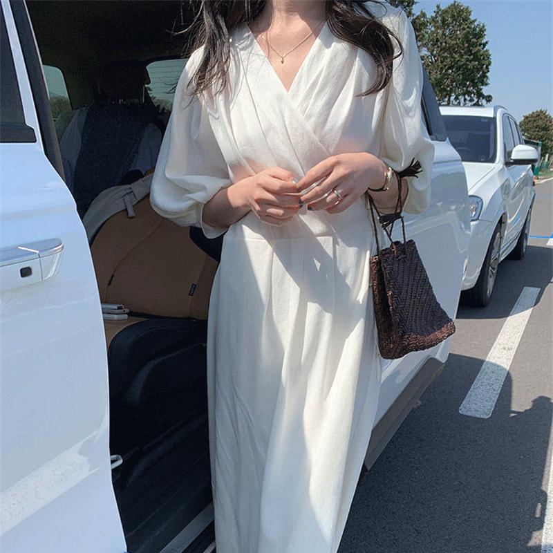 Vestido de verano Largo de algodón estilo coreano, manga abombada, elegante, Blanco...