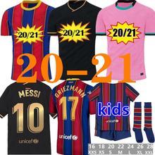 Camisa de futebol barcelone 19 20 21 2020 messi griezmann de jong maillots de camisa de futebol masculino crianças kit