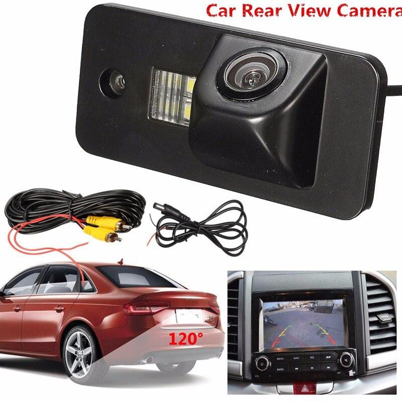 Câmera de visão traseira 520tv linha 120 carro à prova dwaterproof água automática câmera de visão traseira reversa placa licença de reposição câmera para a3 a4 a5 rs4