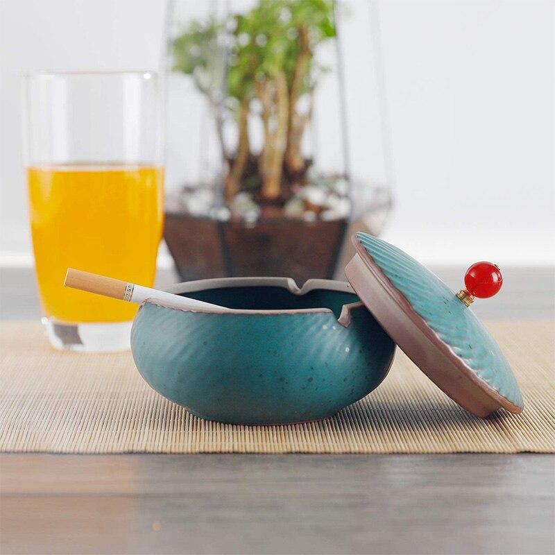 Cenicero para exteriores con tapa Cenicero de cerámica a prueba de olores, Cenicero de malla de tormenta para decoración de oficina en casa