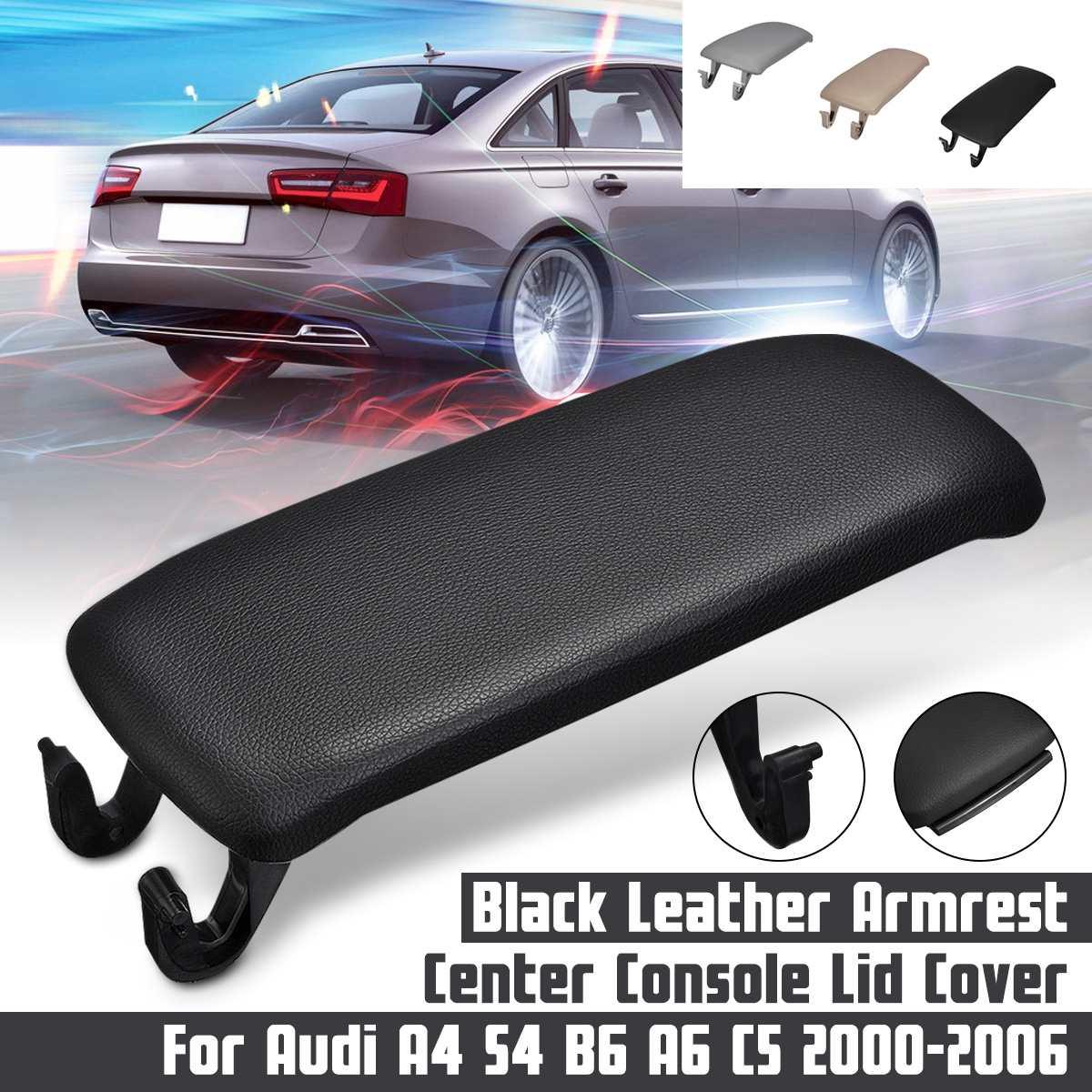 Cubierta Beige/gris/negro para Reposabrazos de coche, cubierta para caja de almacenamiento para AUDI 2000-2006 A4 S4 A6 Allroad