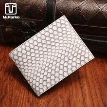 McParko Snakeskin Wallet Men 2020 New Mens Wallet Genuine Leather Cobra Purse Thin Slim Design White Short Purses Luxury Brand