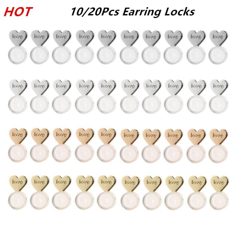 10/20Pcs Heart Love Magic Earring Lifters Earring Lifts Backs Adjustable Hypoallergenic Earring Nuts