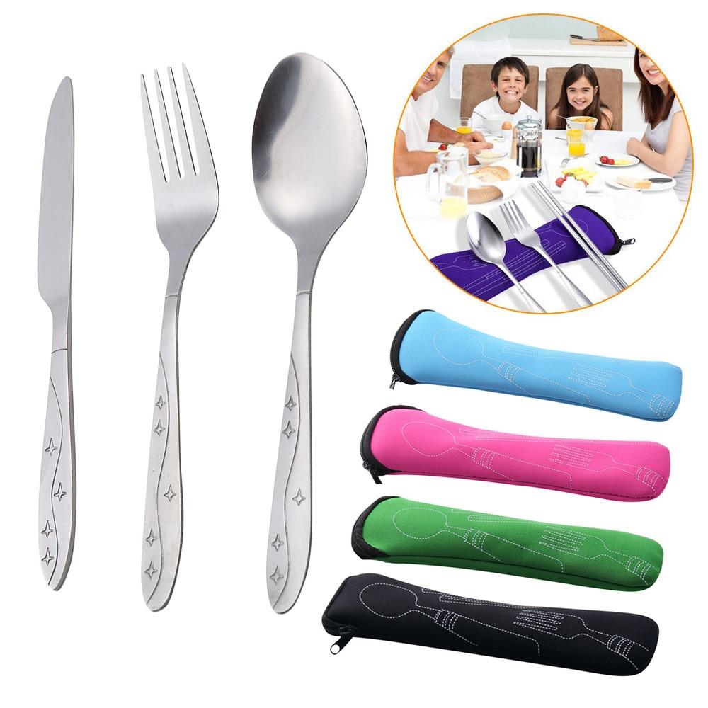 3 uds cuchillos de acero inoxidable tenedor cuchara familia viaje Camping cubertería ojo BK herramienta de cocina accesorios portátiles #20