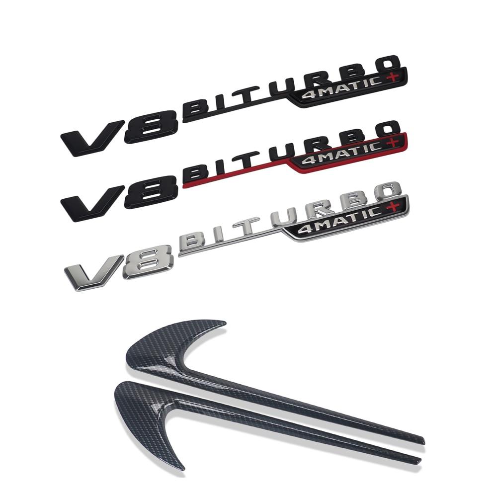 2 uds V8 BITURBO pegatina lateral de coche para Mercedes Benz V8...