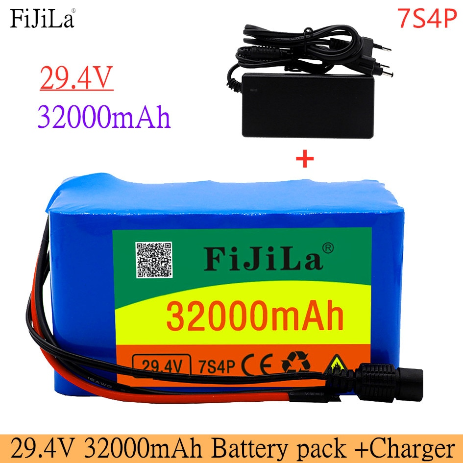 جديد 24 فولت 7S4P 32000mAh عالية الطاقة 32AH 18650 بطارية ليثيوم حزمة مع BMS 29.4 فولت دراجة كهربائية سيارة كهربائية + 2A شاحن