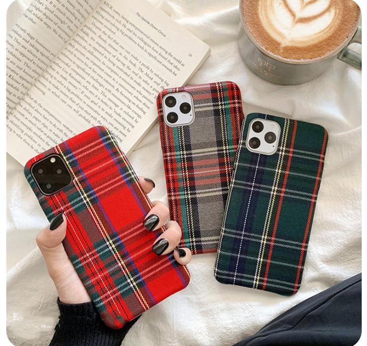 Wixcen Simple Plaid Plush Fabrics Phone Case for Iphone 11 Pro Max 7 8 Xr x Xs Plus Warm Cloth Soft Tpu Back Cover