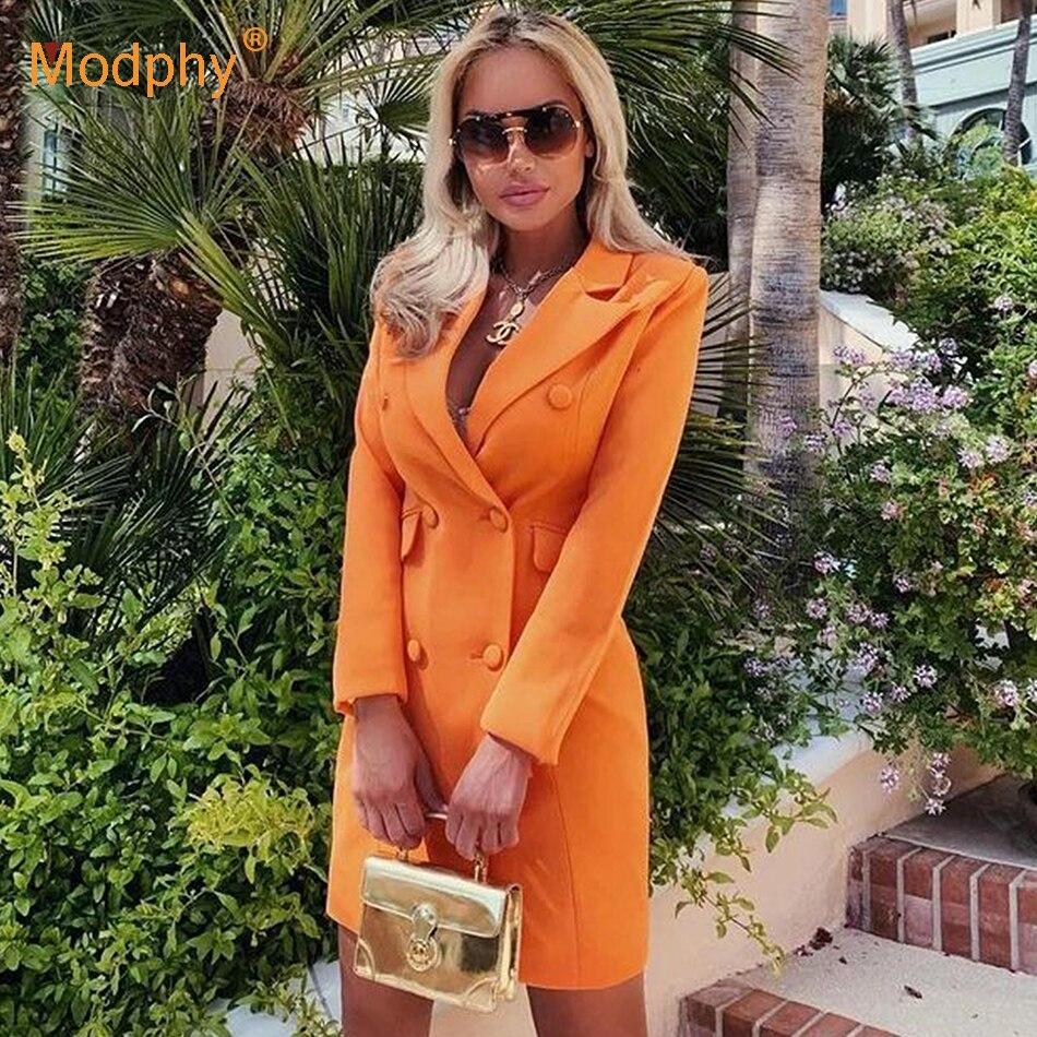 Otoño Invierno naranja OL sólido Blazer para mujer solapa Collar manga larga botón abrigo de túnica Top mujer 2020 ropa de moda nuevo