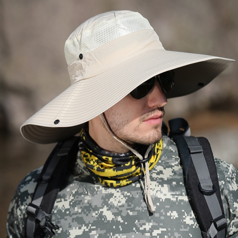Шляпа рыбака с широкими полями Мужская, однотонная шапка от солнца, дышащая, для походов, летняя панама панама мужская