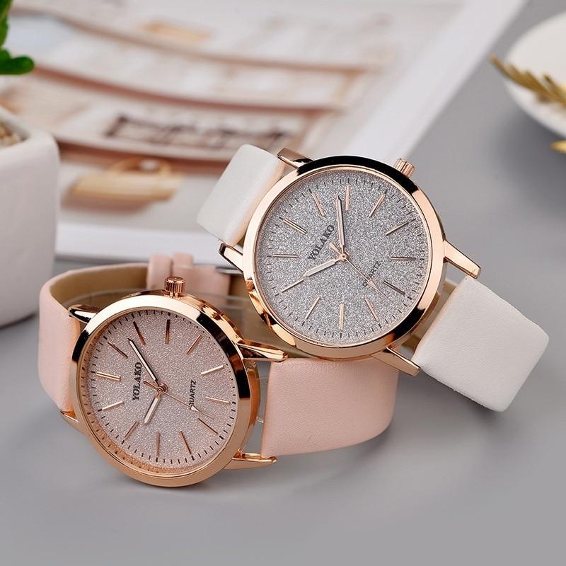 Фото - Роскошные женские часы YOLAKO, модные женские часы, аналоговые кварцевые наручные часы из искусственной кожи, женские часы, часы, женские часы часы