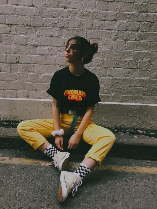 Problema niño estético negro camiseta Unisex Grunge Skater impreso Tee Hipsters Street Style camiseta de verano