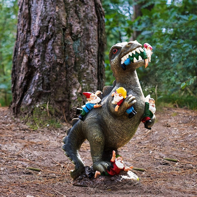 Large Resin Dinosaur Dwarf Figurine Statue Funny Lifelike Eating Gnome Animal Sculpture for Outdoor Home Garden Ornament